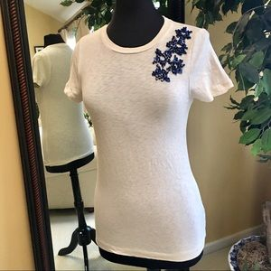 J.Crew short sleeve with blue bead work Size S